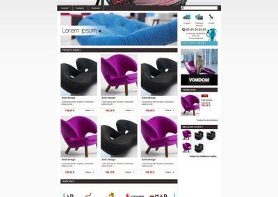 Design de thème pour boutique de vente de mobilier design